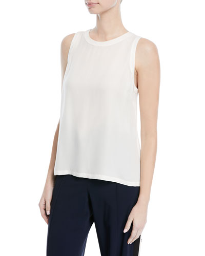 Mina Crewneck Sleeveless Cross-Back Silk Shell