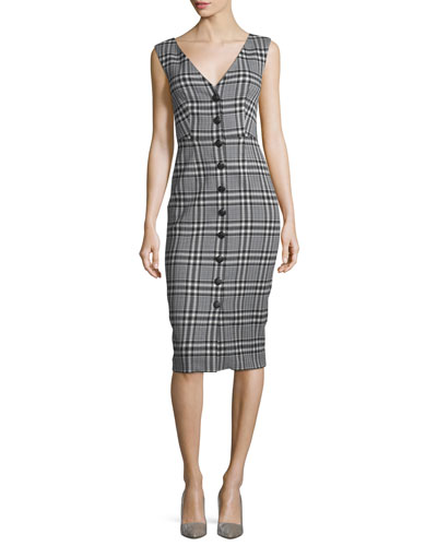 Lark V-Neck Button-Front Plaid Sheath Dress