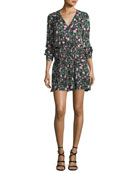 Naomi V-Neck Long-Sleeve Painted Floral-Print Silk Dress