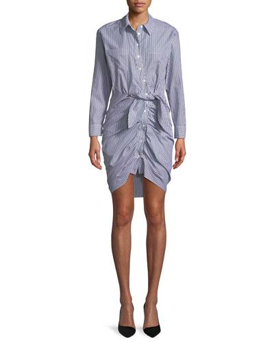 Sierra Button-Down Long-Sleeve Striped Cotton Shirt Dress