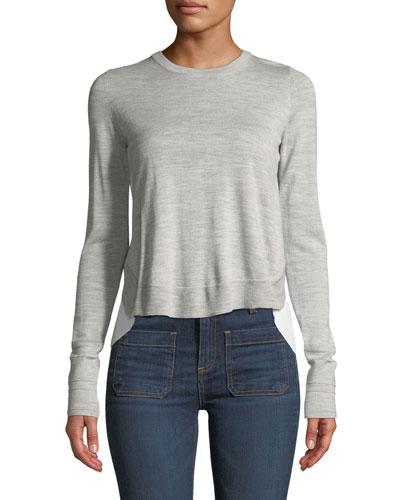 Alma Crewneck Wool Sweater with Shirting Insert