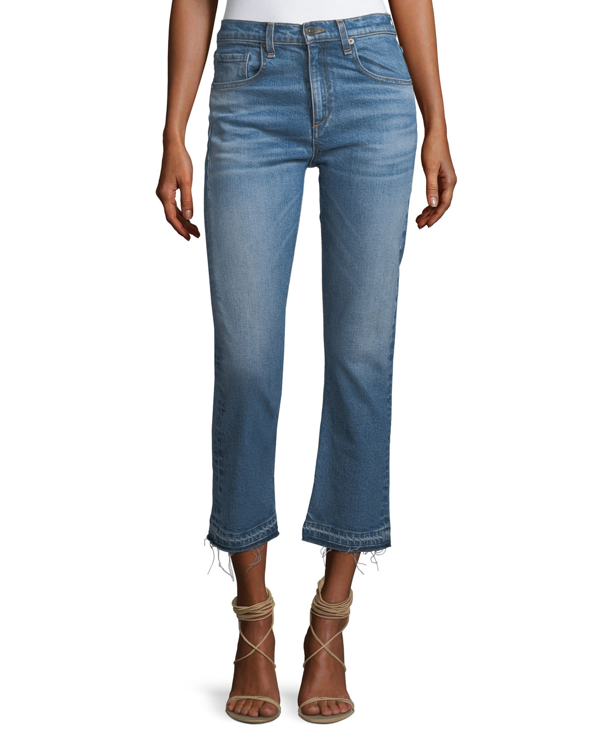 Ines Straight-Leg Girlfriend Jeans w/ Frayed Hem