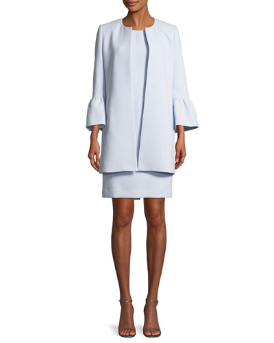 Two-Piece Trumpet-Sleeve Coat & Mini Dress