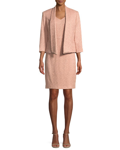 Two-Piece Novelty Jacquard Jacket & Dress Suit Set
