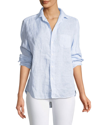 Eileen Button-Down Long-Sleeve Striped Linen Shirt
