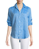 Eileen Button-Down Long-Sleeve Linen Shirt