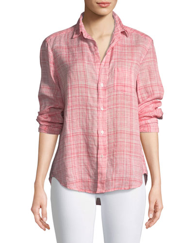 Eileen Button-Down Plaid Linen Shirt