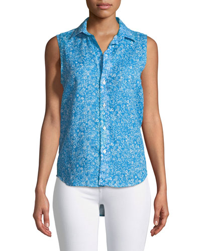 Fiona Sleeveless Button-Down Floral-Print Linen Shirt