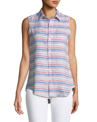 Fiona Sleeveless Striped Linen Shirt