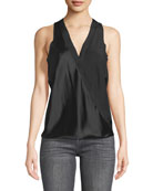 Aida V-Neck Sleeveless Silk Charmeuse Top