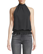 Reign Open-Back Sueded Tech Halter Top