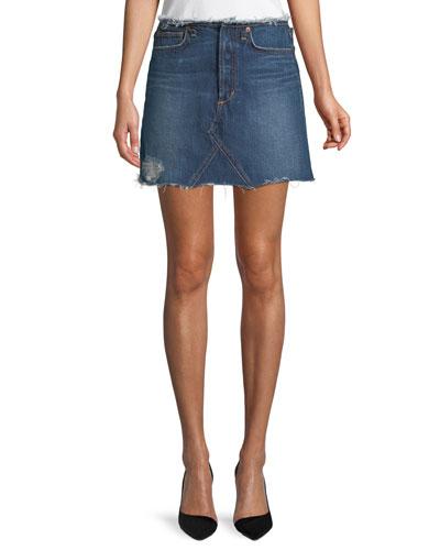 Bella Cutoff-Waist A-Line Denim Skirt