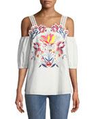 Marja Floral-Embroidered Cutwork Cold-Shoulder Top