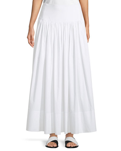 Shirley Ruched Cotton Maxi Skirt