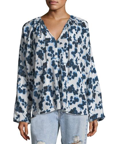 Lucia P. Long-Sleeve Floral-Print Silk Top