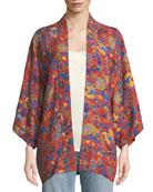 Drew Open-Front Floral-Print Kimono