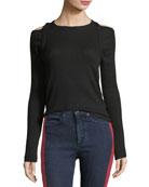Rosalind Crewneck Long-Sleeve Rib-Knit Sweater
