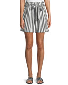 Striped Linen Twill Tie-Front Shorts