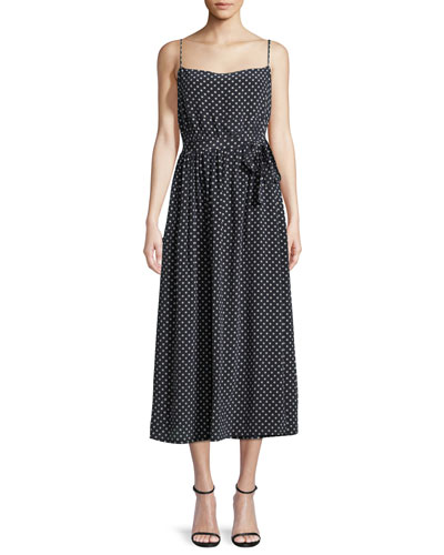 Polka-Dot Sleeveless Midi Slip Dress