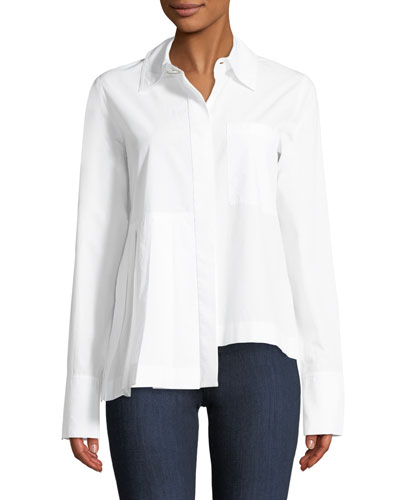 Long-Sleeve Button-Front Cotton Shirt with Asymmetric Pleat Detail