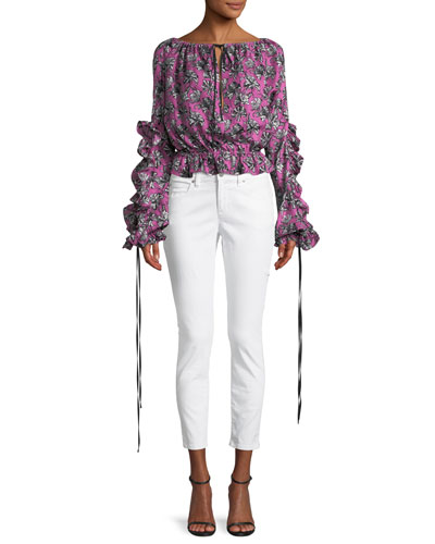 Orchid-Print Ruffle Long-Sleeve Silk Blouse