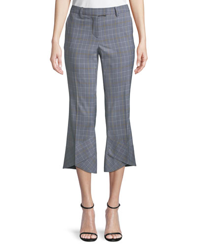 Plaid Crop Flare-Hem Trousers