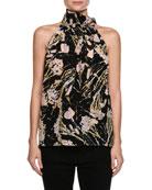 Multicolored Printed Sleeveless Silk Blouse