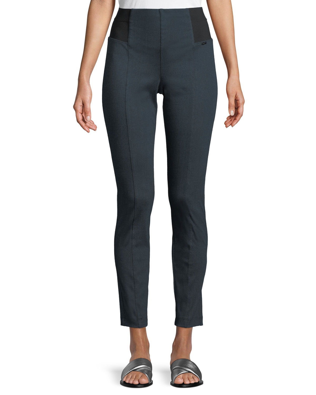 Denim Ponte Cropped Slim Pants