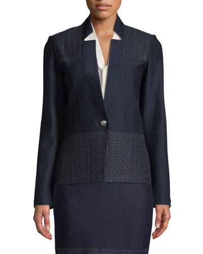 Caris Knit Lace-Trim Jacket