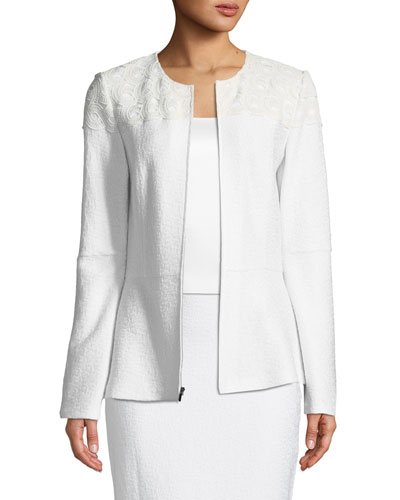 Caris Knit Jewel-Neck Jacket