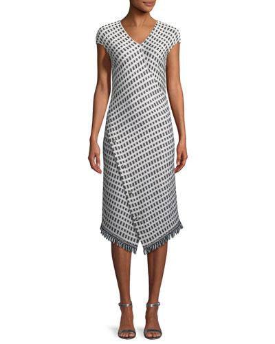 Thatched Grid Knit V-Neck Dress