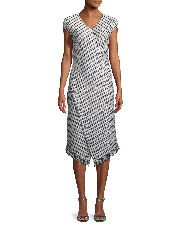 ST. JOHN Thatched Grid Knit V-Neck Dress in Beige