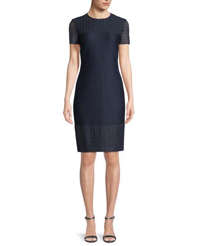 Caris Knit Lace-Trim Short-Sleeve Dress