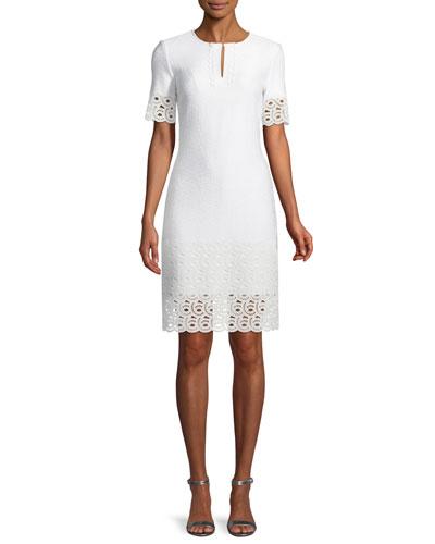 Caris Knit Lace-Trim Split-Neck Dress