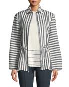Stretch-Linen Stripe Twill Drawstring Jacket