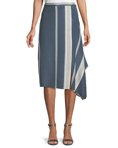 Satin Striped Faux-Wrap Skirt