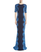 Brocade-Graphic Half-Sleeve Knit Gown