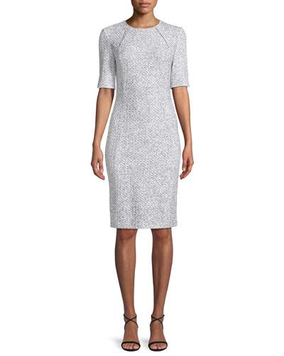 Olivia Boucle Knit Origami-Neck Dress
