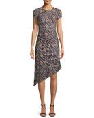 Painterly Multi-Tweed Knit Asymmetric Fringe Dress