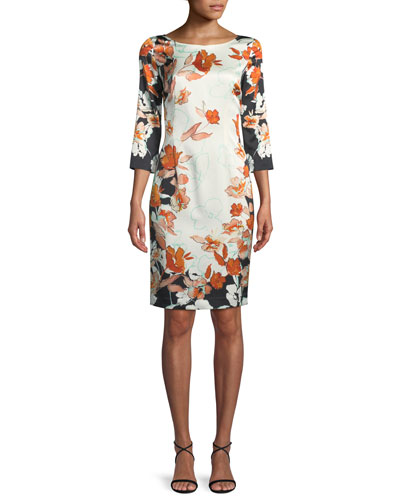 Modern Floral Stretch Charmeuse Dress