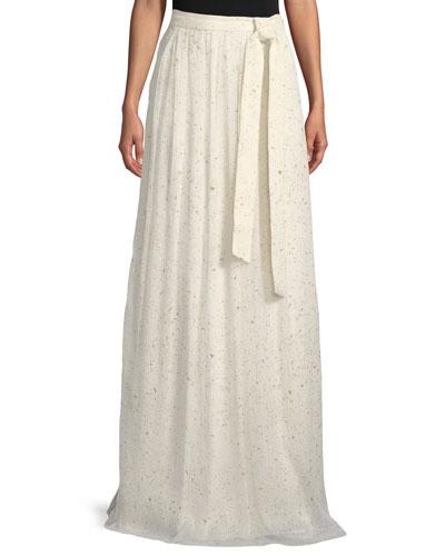 Flocked Glitter Crinkle Chiffon Floor-Length Skirt