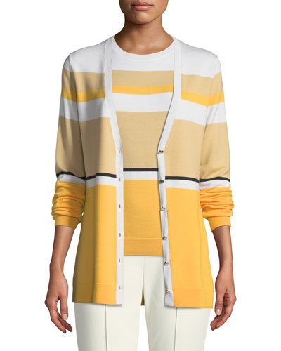Jersey Knit Colorblock Wool Cardigan
