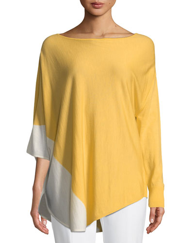 Jersey Knit Asymmetric Poncho Sweater