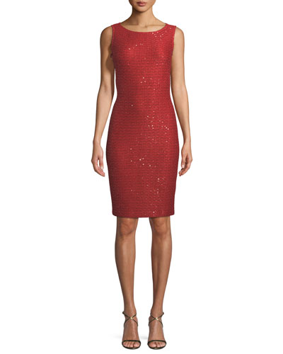 Glamour Sequin Knit Bateau-Neck Cocktail Dress