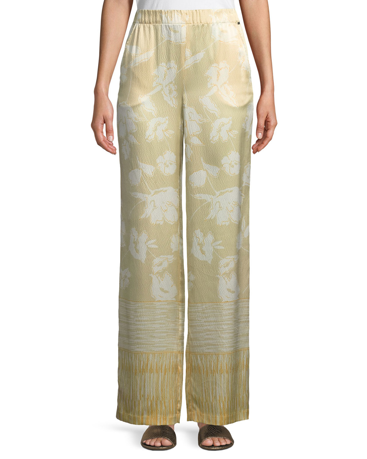 Outlined Painted Floral Hammered Silk Pants