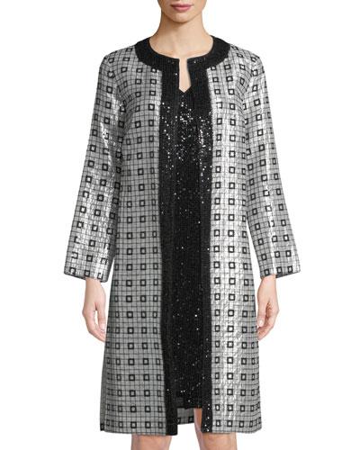 Lamé Silk Chiffon Metallic-Embellished Topper Jacket