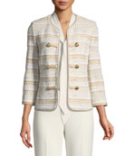 Speckled Stripe Tweed Knit Jacket