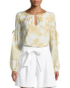 St. John Collection Linen Twill Tie-Front Shorts and