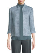 Micro Striped Checked Knit Jacket