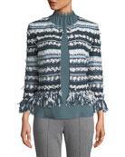 Lofty Flagged Stripes Knit Jacket